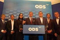 Tisková konference ODS, Miloš Vystrčil zcela vlevo.