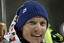 Šťastný Ondřej Moravec po zisku stříbra na olympijských hrách v Soči.