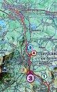 Cyklostezka je na mapě značená červeně, jeden úsek chybí