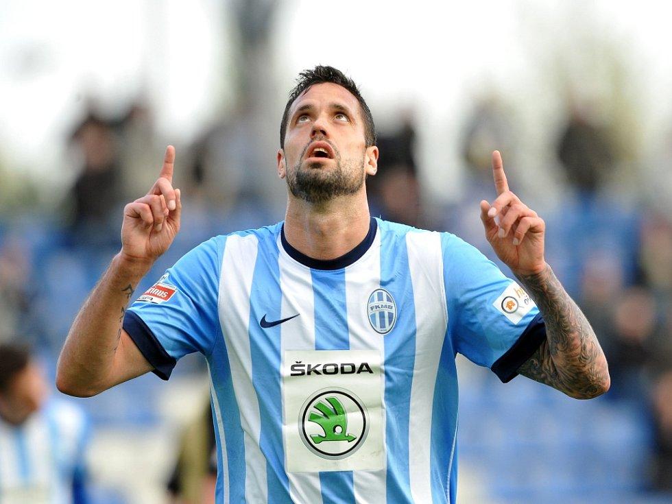 Lukáš Magera z Mladé Boleslavi se raduje z gólu.