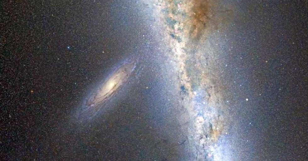Někdejší galaxie se poté sloučí v novou galaxii