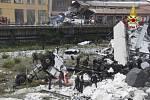 Vrak kamionu české přepravní formy Speed-it, který se zřítil s mostem v Janově. Jeho řidič Martin nehodu přežil.