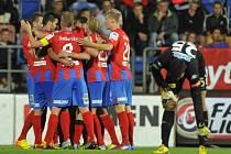 Budou se fotbalisté Plzně takhle radovat i po úterním zápase s CSKA Moskva?