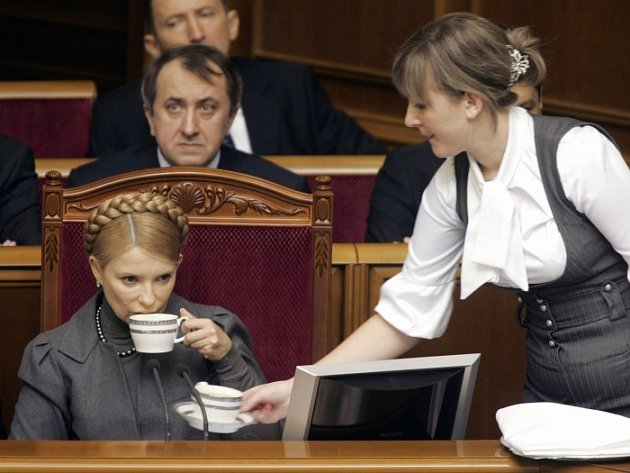 Ukrajinská premiérka Julija Tymošenková na zasedání parlamentu v Kyjevě.