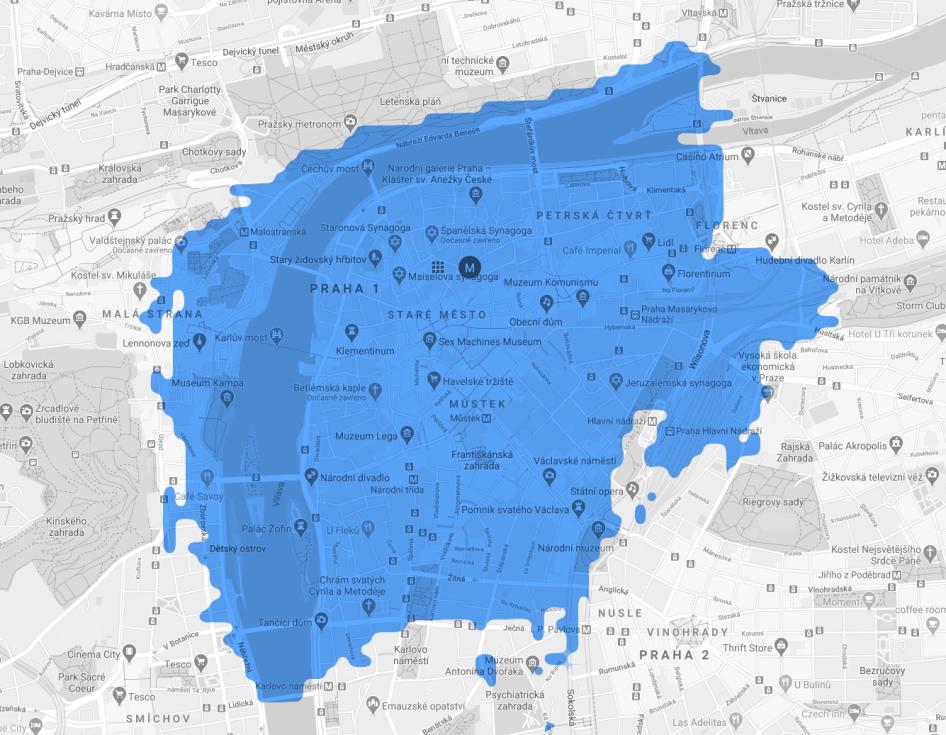 Pokrytí Prahy 5G sítí - Staré a Nové Město