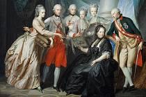 Marie Terezie v pozdním věku s rodinou, zcela vpravo její syn, spoluvládce a nástupce Josef II., jehož před uherským sněmem držela coby malého v náručí