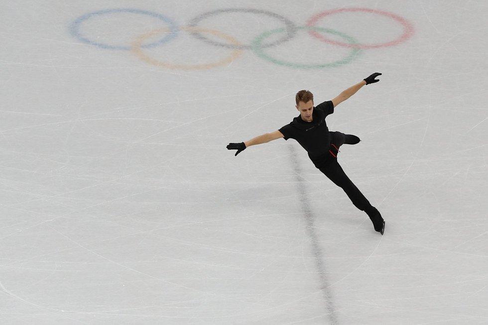 Michal Březina na tréninku v Gangneung Ice Arena