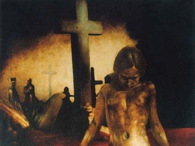 Malba Richarda Peška s názvem A.D.1917, Zborov - věnováno Františku Drtikolovi