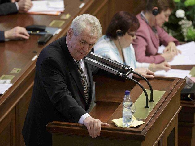 Prezident Miloš Zeman přednesl 7. května projev v Poslanecké sněmovně.