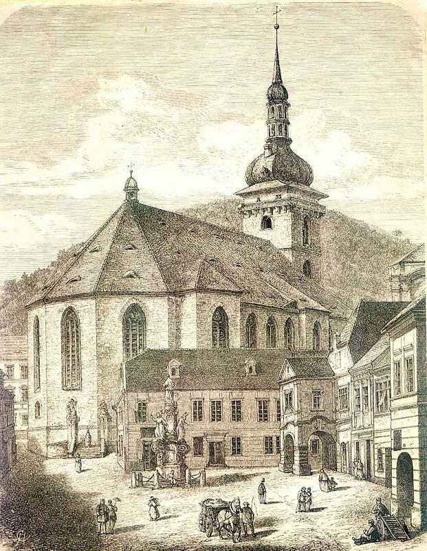 Děkanský kostel na rytině z roku 1878. Věž byla kvůli plánovanému přesunu v roce 1972 z kostela sejmuta