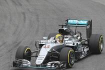 Lewis Hamilton v kvalifikaci na Velkou cenu Brazílie.