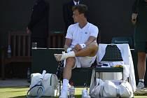 Tomáš Berdych v osmifinále Wimbledonu.