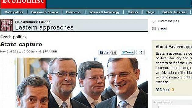Článek v britském listu The Economist kritizuje českou politickou scénu