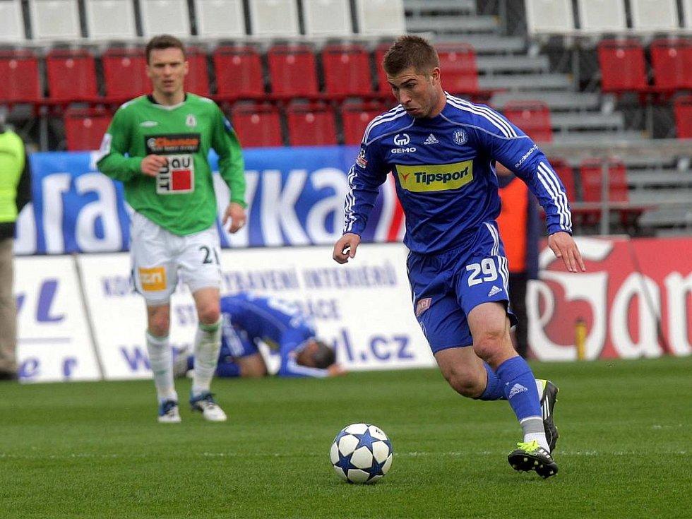 Útočník Olomouce Pavel Šultes v zápase proti Jablonci.