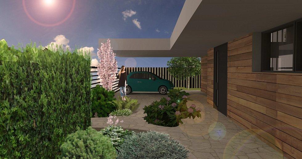 Vizualizace zahrady před vstupem do domu
