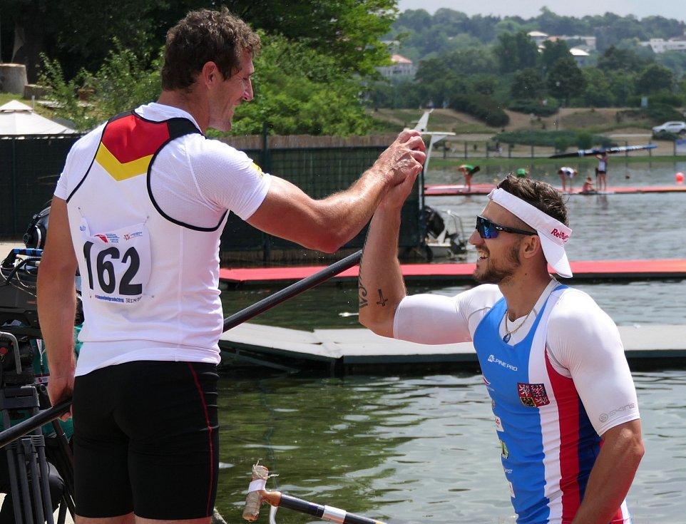 Velcí rivalové. Martin Fuksa (vpravo) a Sebastian Brendel.