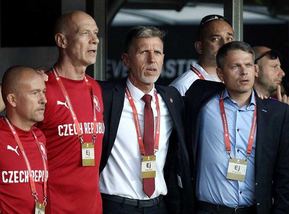 Zápas fotbalové kvalifikace ME 2020 ve fotbale mezi Českem a Bulharskem na Letné. Jaroslav Šilhavý a Libor Sionko.