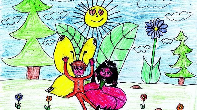 Romantiku na lesním paloučku nakreslil Zdenda Pejřimovský z Jabloného v Podještědí (9 let).