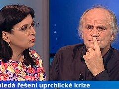 advokátka Klára Samková a bývalý politik a hudebník Michael Kocáb v pořadu Události, komentáře.