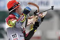 Biatlonista Zdeněk Vítek ve sprintu MS v Novém Městě na Moravě.