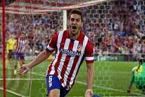 Koke z Atlétika Madrid se raduje z gólu proti Barceloně.