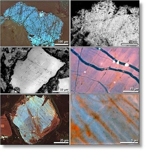 Elektronovým mikroskopem pořízené snímky mnoha malých trhlin v křemenných zrnech