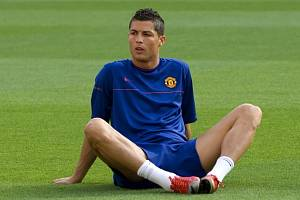 Cristiano Ronaldo na tréninku Manchesteru United před finálovým duelem Ligy mistrů.