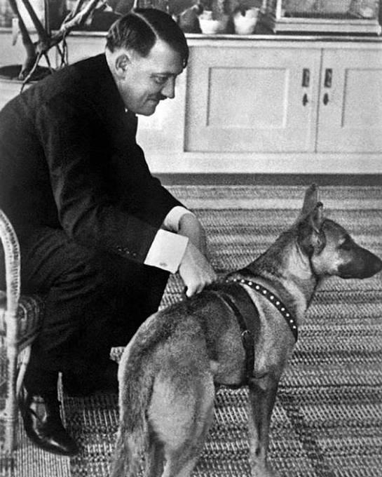 Hitler s fenkou Blondi, kterou před svou sebevraždou otrávil