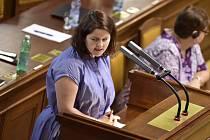 Jana Maláčová na schůzi Sněmovny