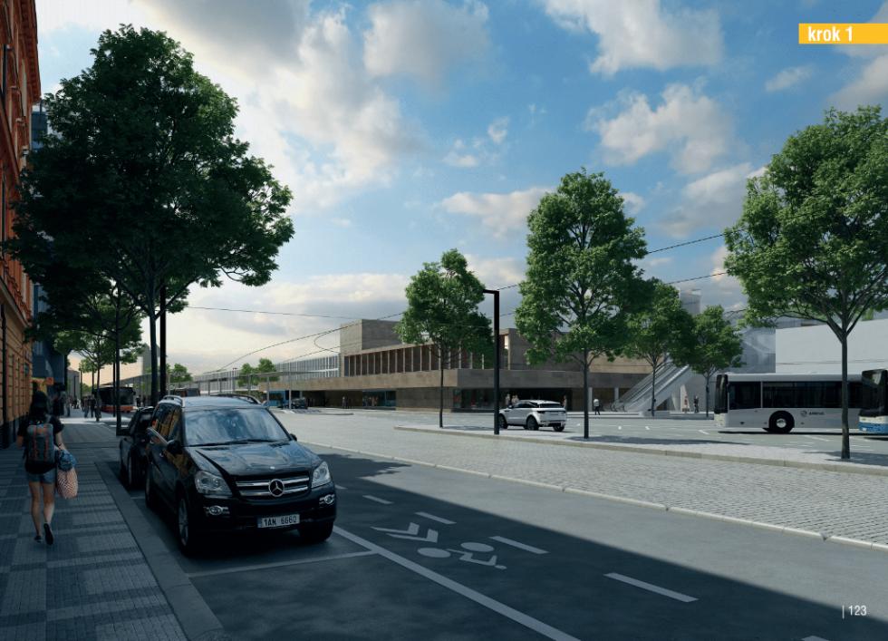 Budova smíchovského nádraží navrhovaná podoba. Krok 1