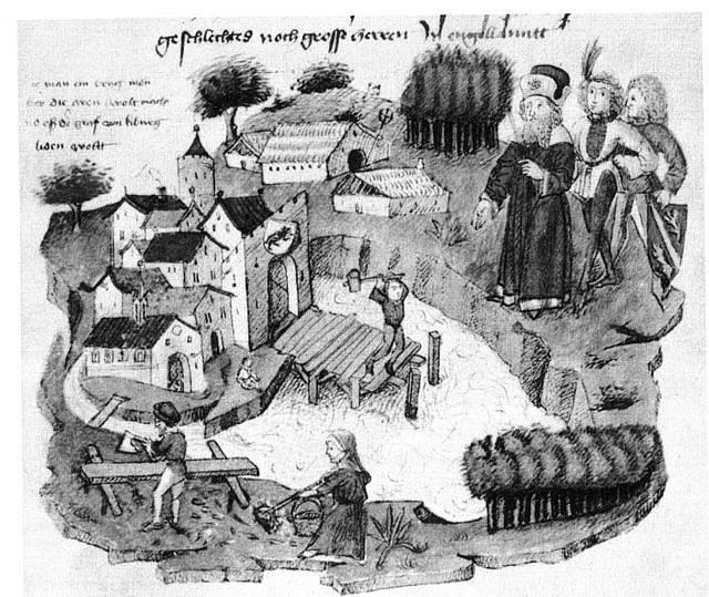 Rukopisná ilustrace stavby prvního kamenného obloukového mostu ve městě Bern ve Švýcarsku