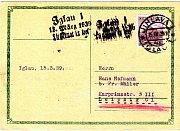 Razítko z pošty během německé okupace.