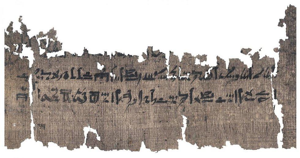 Odřezek papyru s návodem na mumifikaci