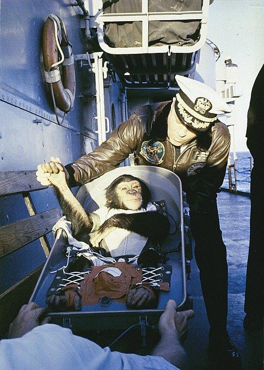 Šimpanz Ham těsně po návratu z letu. Na palubě americké vojenské lodi USS Donner jej vítá její kapitán