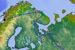 Letoun byl sestřelen nad středním Ruskem ještě předtím, než se dostal nad Norsko, kam původně mířil