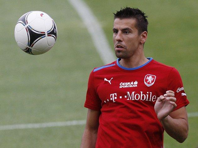 Milan Baroš na tréninku české reprezentace.