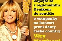 Zapojte se s regionálním Deníkem  do soutěže o vstupenky na koncert první dámy české country.