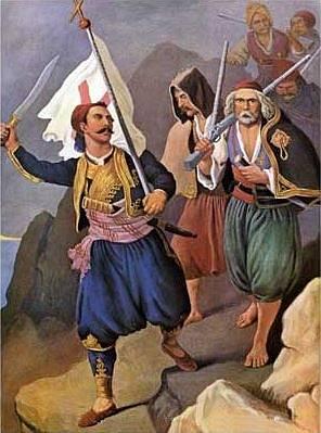Petros Mavromichalis vede řecké revolucionáře na přístavní město Kalamata, obraz Petera von Hesse