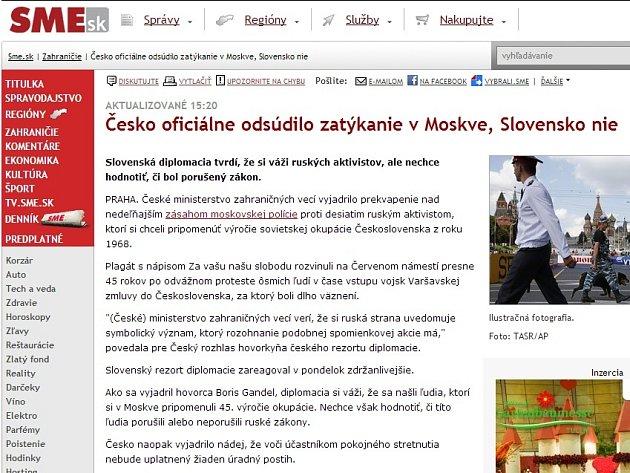 Článek slovenského serveru SME