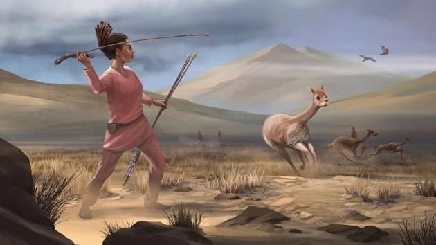 Umělecké ztvárnění silné ženy, která před 9000 lety lovila na úpatí And velkou zvěř