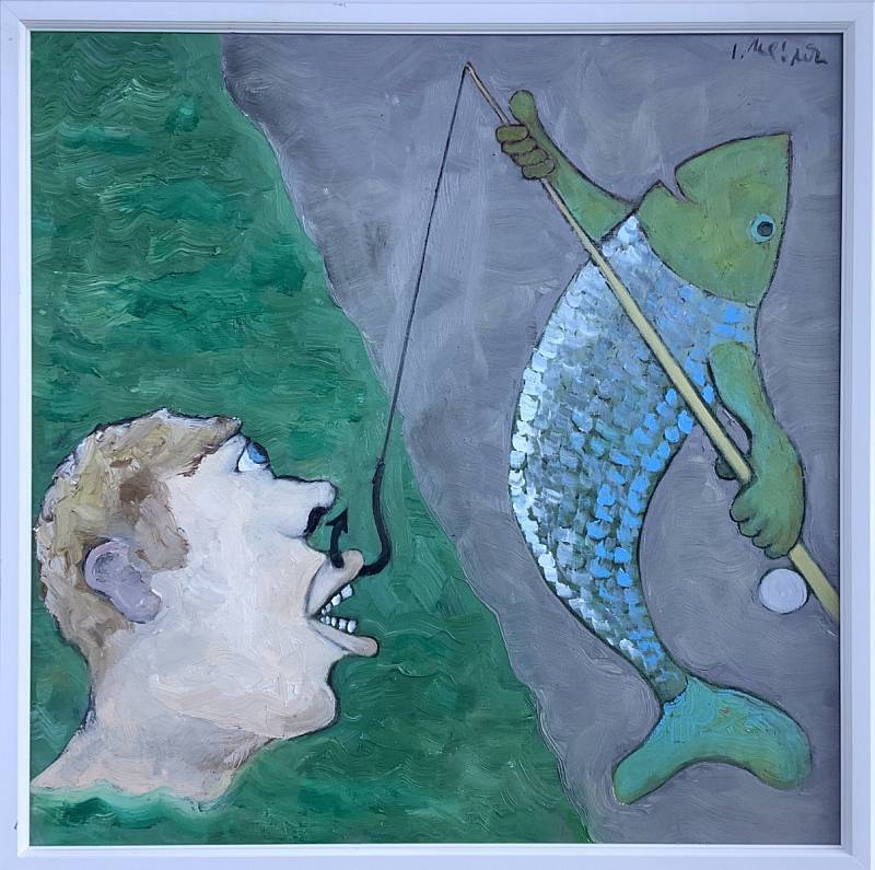 """V 80. letech se Mládek začal realizovat i jako malíř, své oleje maluje v originálním """"antiperspektivním"""" stylu."""