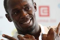 Usain Bolt se na tiskové konferenci před Zlatou tretrou dobře bavil.