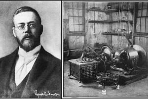 Vynálezce rozhlasového vysílání Reginald A. Fessender a jeho vysílací alternátor z roku 1906