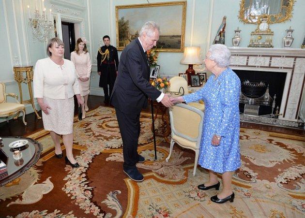 Miloš Zeman na návštěvě britské královny Alžběty II.