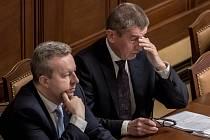 Jednání Sněmovny o žádost o vyslovení souhlasu s trestním stíhání poslanců Andrej Babiš a Jaroslava Faltýnka 19. ledna v Praze. Babiš, Brabec