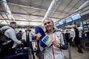 Část českých sportovců odletěla 1. února z Prahy zimní olympiádu v Jižní Koreji. Na snímku Barbora Havlíčková