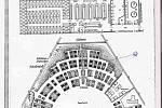 Plán KT Sachsenhausenu – Oranienburgu s vyznačením bloku, kde byl Vojmír Srdečný vězněn