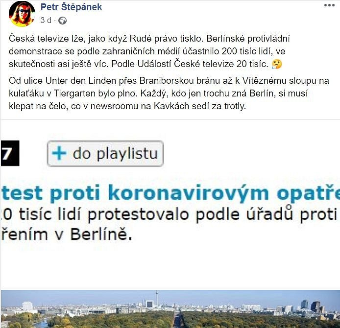 Podle Petra Štěpánka Česká televize zkreslila počty demonstrantů - dokládal to ovšem fotografií z úplně jiné akce