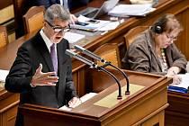 Premiér Andrej Babiš (ANO) hovoří 4. prosince 2019 v Praze na schůzi Poslanecké sněmovny, na jejímž programu bylo schvalování návrhu státního rozpočtu na rok 2020