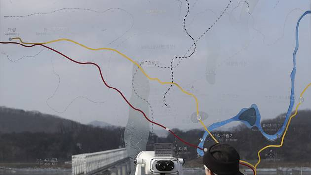 Mapa zobrazující hranici mezi Jižní Koreou a KLDR v pohraničním městě Padžu